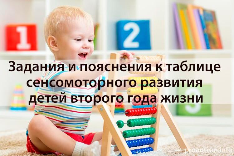 Задания и пояснения к таблице сенсомоторного развития детей второго года жизни