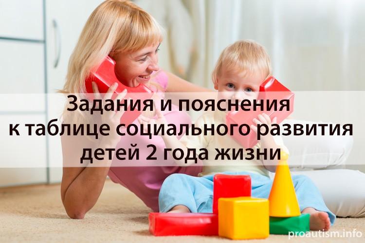 Задания и пояснения к таблице социального развития детей второго года жизни