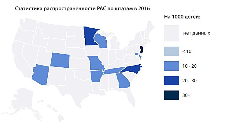 Статистика аутизма на 2016 год по штатам