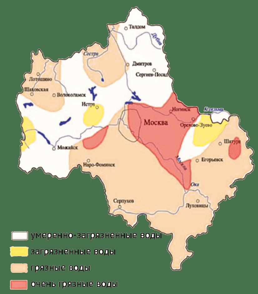 Загрязнение поверхностных вод в Московской области